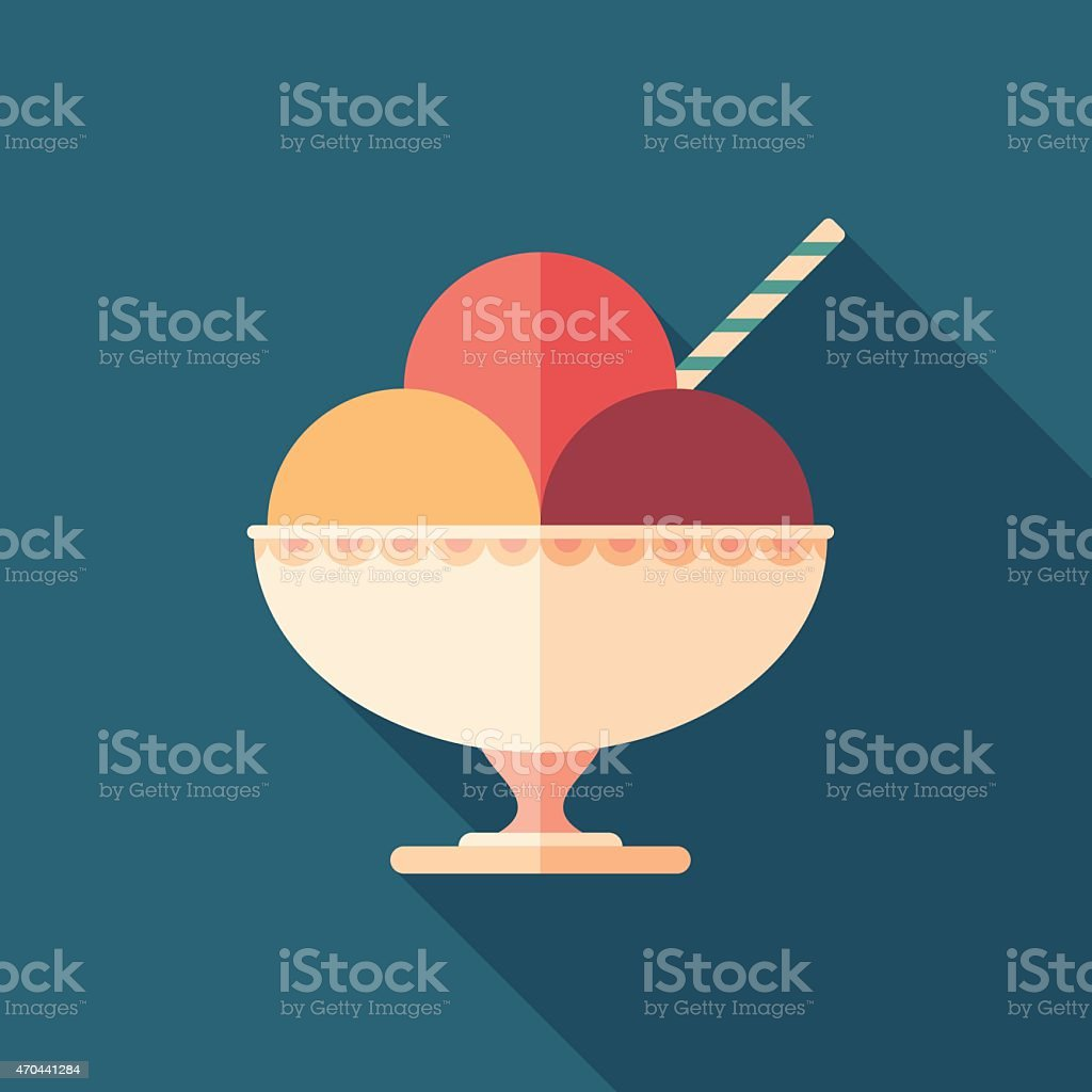 Sorbet in ceramic bowl flat square icon with long shadows. vector art illustration