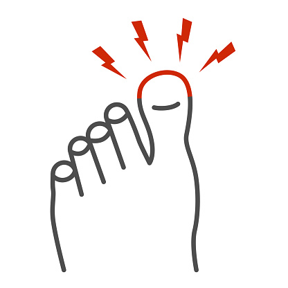 Sore big toe thin line icon, Body pain concept, Foot pain sign on white background, leg with a toe injury icon in outline style for mobile concept and web design. Vector graphics.