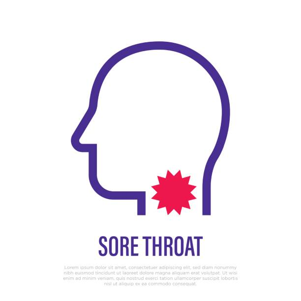 Sore throat: pain in throat thin line icon. Flu, grippe, influenza, angina. Healthcare and medical vector illustration. Sore throat: pain in throat thin line icon. Flu, grippe, influenza, angina. Healthcare and medical vector illustration. sore throat stock illustrations