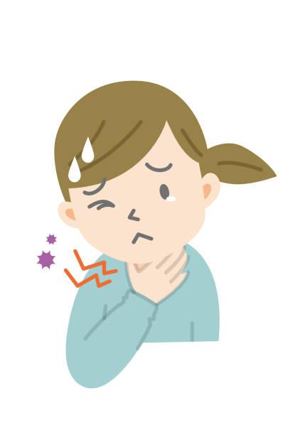 sore throat Illustration of female upper body with sore throat sore throat stock illustrations
