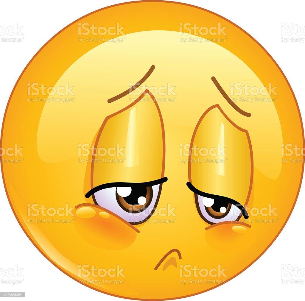 Tristeza emoticono - ilustración de arte vectorial