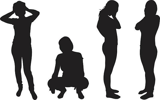 悲しみ - 女性 落ち込む点のイラスト素材/クリップアート素材/マンガ素材/アイコン素材