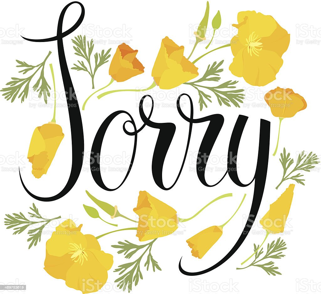 Sorry card with yellow flowers vector art illustration