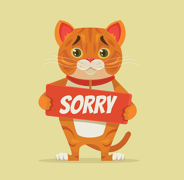 sorry cat character hold apology plate - wine stock illustrations