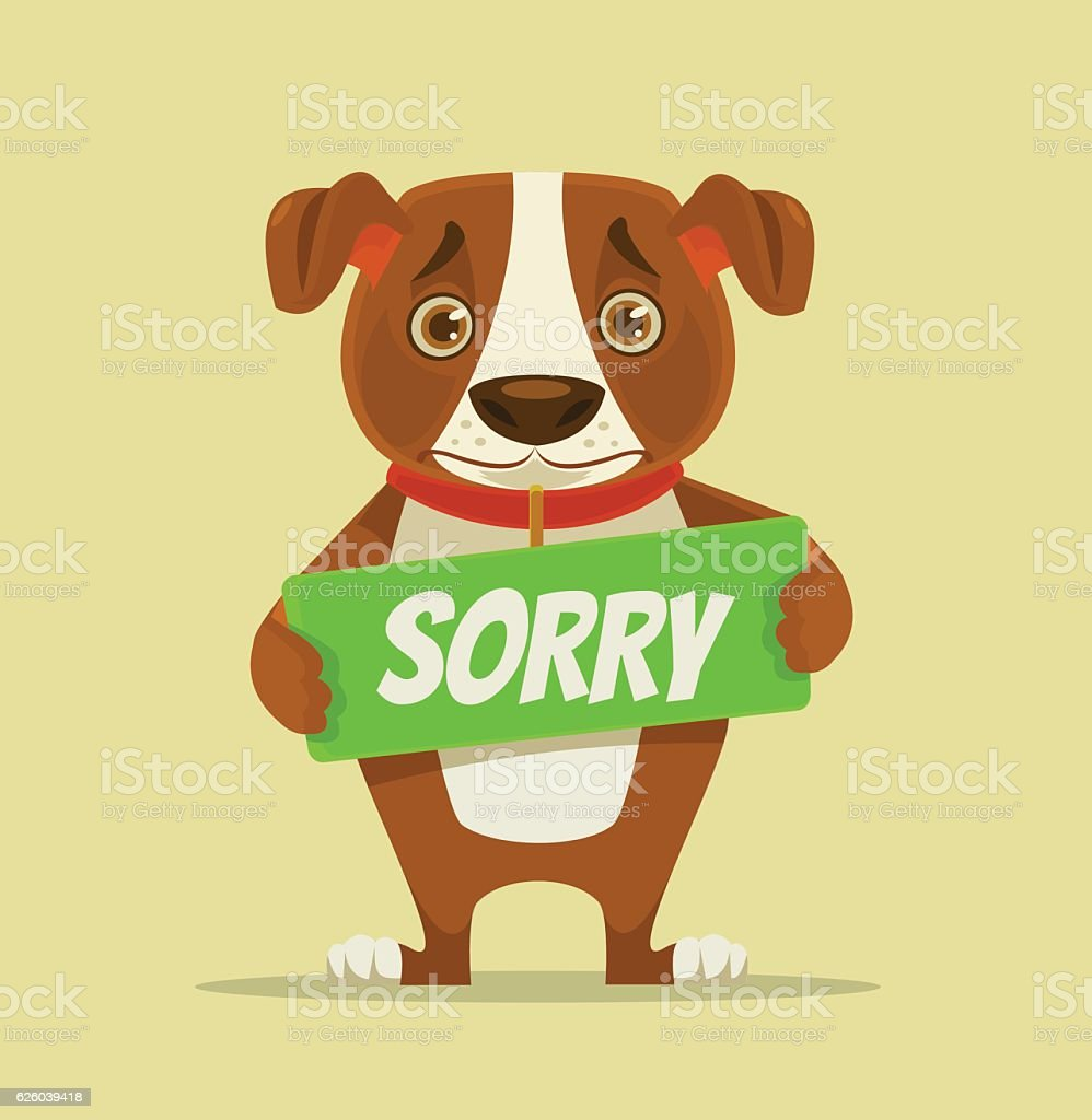 Sorry dog character hold apology plate vector art illustration