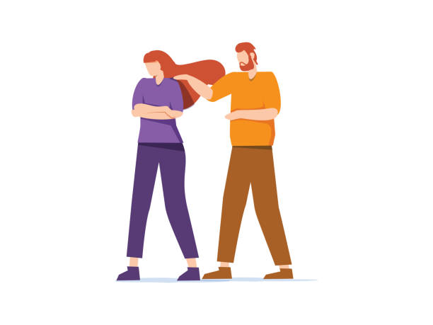 illustrazioni stock, clip art, cartoni animati e icone di tendenza di sorry. the man apologizes to the offended woman. relationships. vector illustration in a flat style. relation problems - chiedere scusa