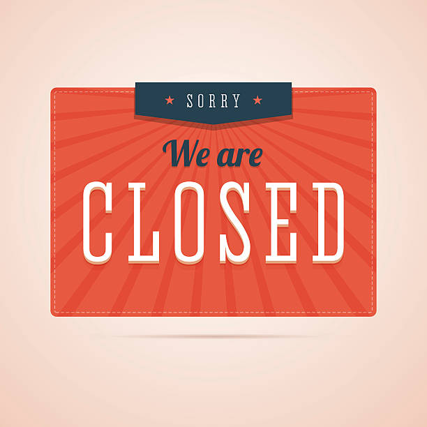 Sorry, we are closed sign in flat style. Sorry, we are closed sign in flat style with stars and rays. Retro, vintage style illustration for you shop, store or website. Vector illustration. closed sign stock illustrations