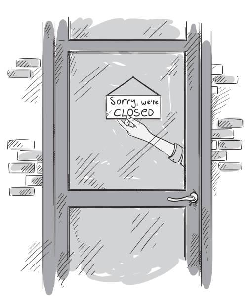 illustrazioni stock, clip art, cartoni animati e icone di tendenza di mi dispiace che siamo chiusi, targa tenuta da una mano dietro la porta di vetro - hand on glass covid