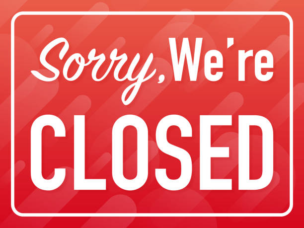 Sorry we're closed hanging sign on white background. Sign for door. Vector illustration. Sorry we're closed hanging sign on white background. Sign for door. Vector stock illustration. closed sign stock illustrations