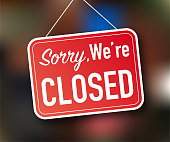 istock Sorry we're closed hanging sign on white background. Sign for door. Vector stock illustration. 1220588179