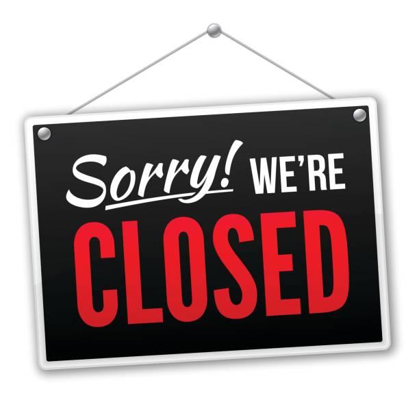 ilustrações, clipart, desenhos animados e ícones de desculpe, estamos placa closed - fechado