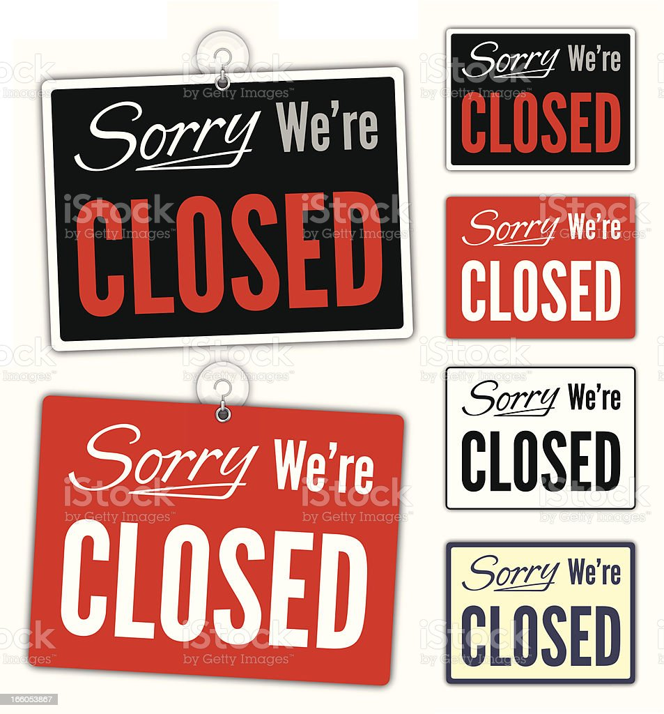Sorry We're Closed Signs royalty-free stock vector art