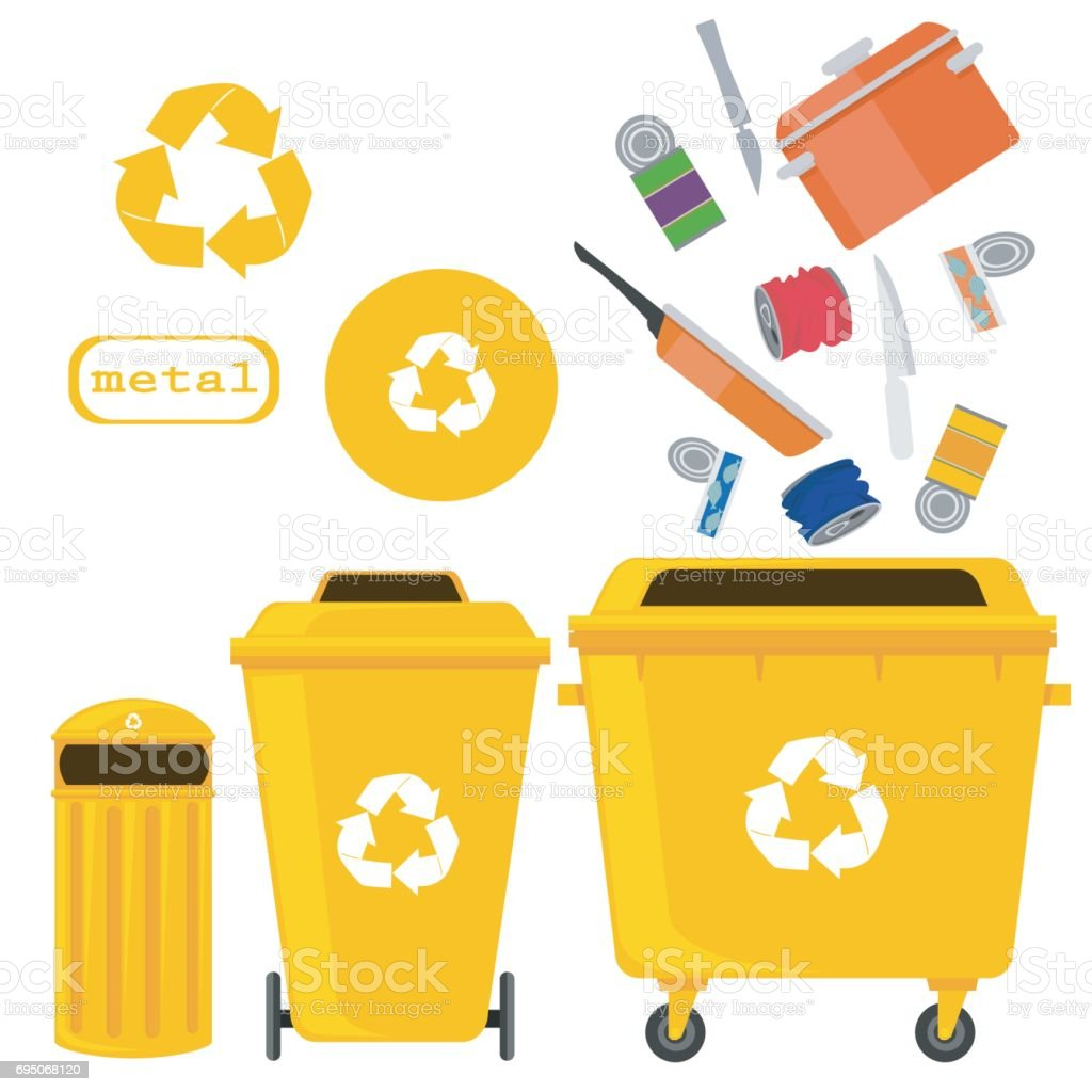 sorting of waste and recycling - metal. Symbols, types. Sorting garbage. vector art illustration