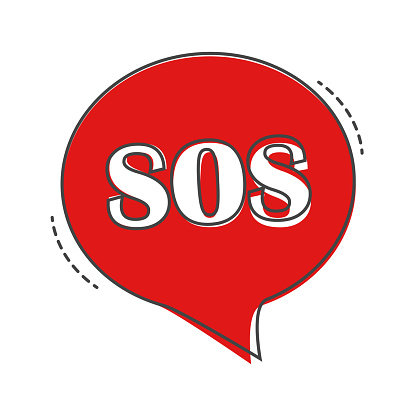 Sos pin marker. Speech vector icon  boubble SoS cartoon style on white isolated background.