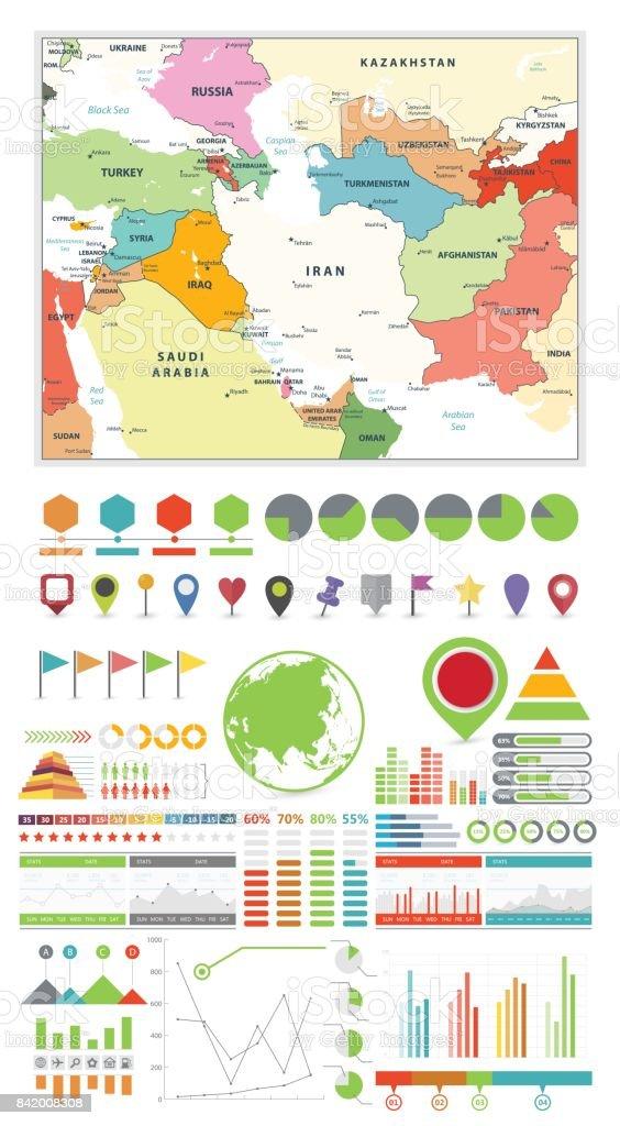 Ilustración de Suroeste De Asia Mapa Y Ubicación De Elementos De ...