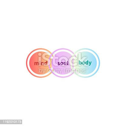 Mind, soul and body balance, holistic icon, mental health sign, vector illustration