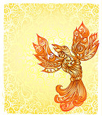 rebirth as a phoenix bird, handmade original design with 3 design elements in one file