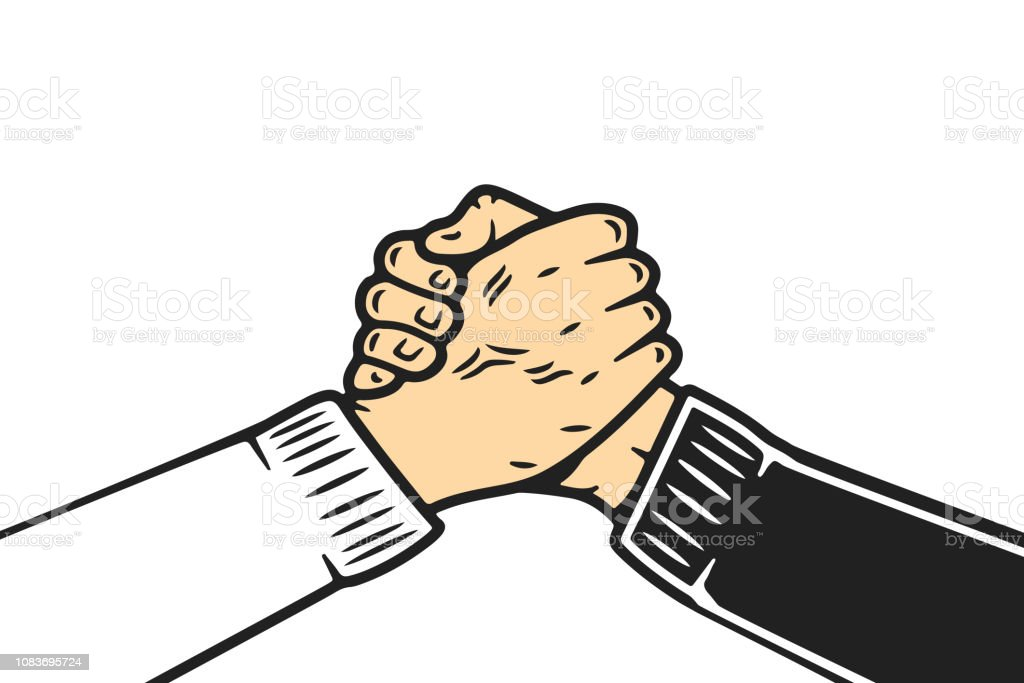 Soul brother handshake, thumb clasp handshake or homie handshake, cartoon style on isolated white background vector art illustration