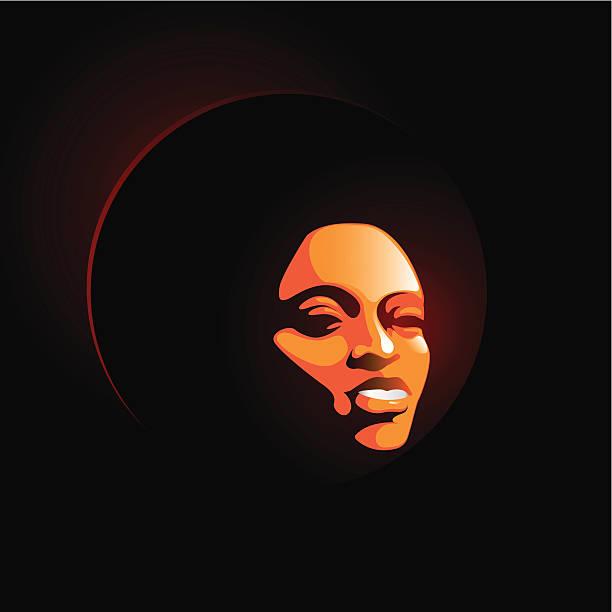 soul lady smile vector art illustration