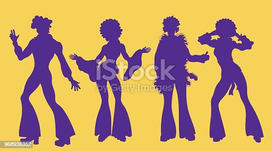 Soul Party Time. Dancers of soul silhouette funk or disco.People in 1980s, eighties style clothes dancing disco, cartoon vector illustration isolated on yellow.