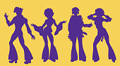 Soul Party Time. Dancers of soul silhouette funk or disco.People in 1980s, eighties style clothes dancing disco, cartoon vector illustration isolated on yellow.Men and women in 80s
