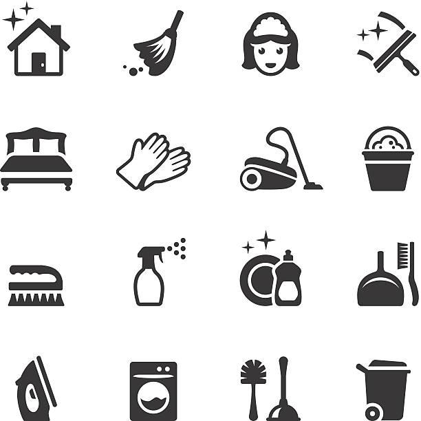 stockillustraties, clipart, cartoons en iconen met soulico - cleaning icons - schoonmaakapparatuur