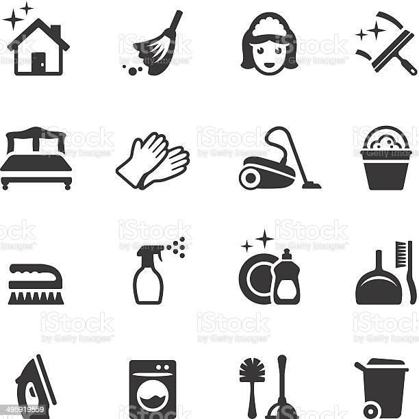 Soulico Cleaning Icons Stockvectorkunst en meer beelden van Afwashandschoen