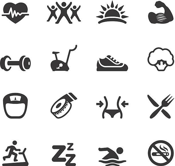 illustrazioni stock, clip art, cartoni animati e icone di tendenza di soulico icone-attività e sport - icon set healthy