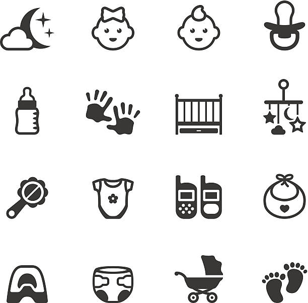 Soulico icons - Baby Soulico collection - Baby icons. infant bodysuit stock illustrations