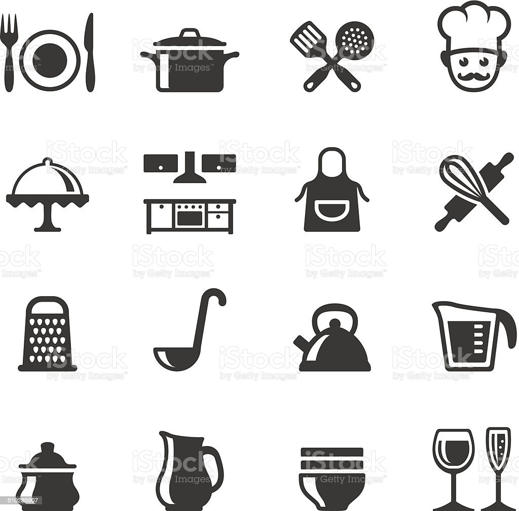 Soulico icons - Cooking Soulico collection - Domestic Kitchen and Cooking icons. Apron stock vector