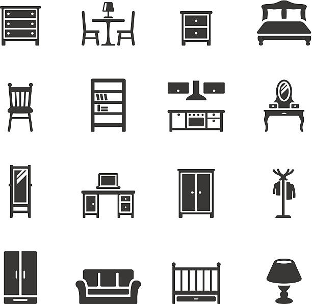 Soulico icons - Furniture Soulico collection - Furniture icons. bedroom silhouettes stock illustrations