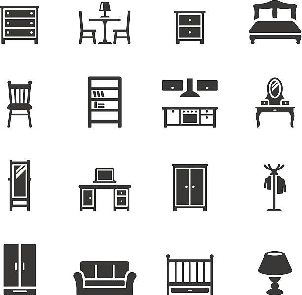 soulico icons-möbel - kastenständer stock-grafiken, -clipart, -cartoons und -symbole