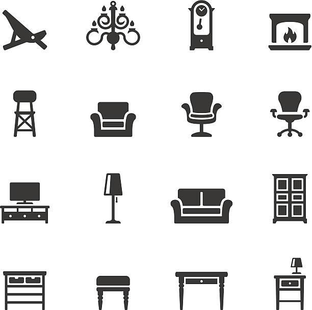 stockillustraties, clipart, cartoons en iconen met soulico icons - home interior - interior design