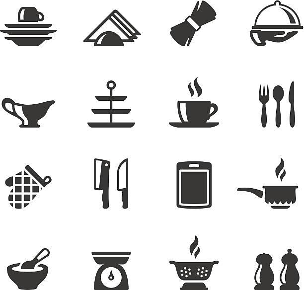 stockillustraties, clipart, cartoons en iconen met soulico icons - silverware - servet