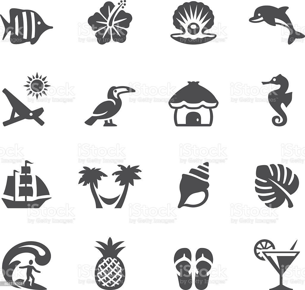 Soulico icons - Tropical Vacations vector art illustration