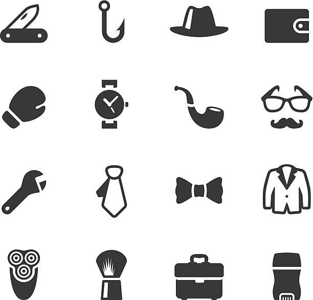 illustrazioni stock, clip art, cartoni animati e icone di tendenza di soulico-uomo cose icone - mascolinità