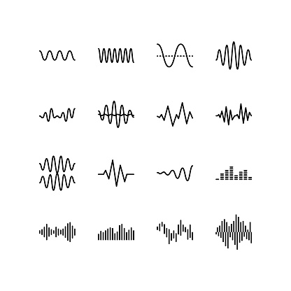 Sound and radio waves flat line icons set. Monochrome simple sound wave on white background. Editable Strokes