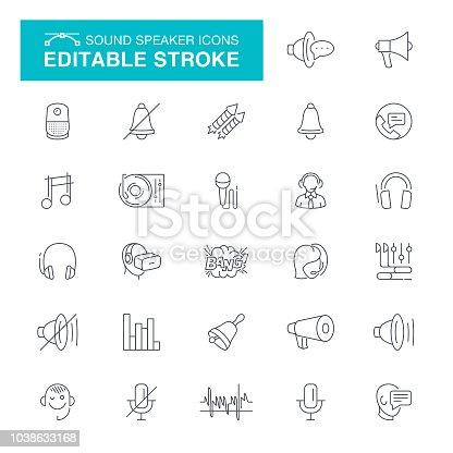Speaker, Sound Recording Equipment, Audio Equipment, Message, Microphone, Editable Line Icon Set