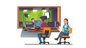 Sound and video engineer working at recording studio along with producer sitting at mixing console board. TV broadcasting & video production room interior. Flat style isolated vector
