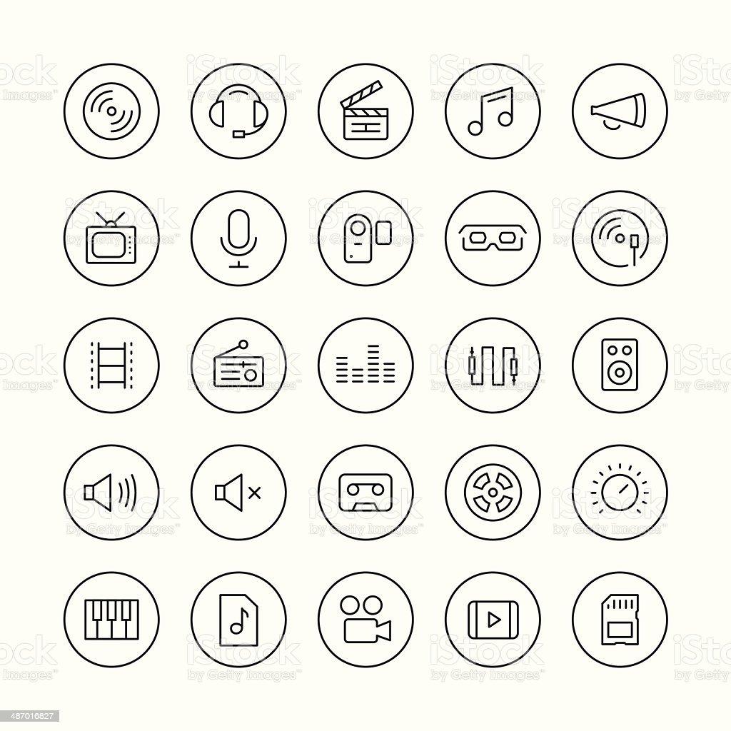 Sonido y vídeo conjunto de iconos de línea fina - ilustración de arte vectorial