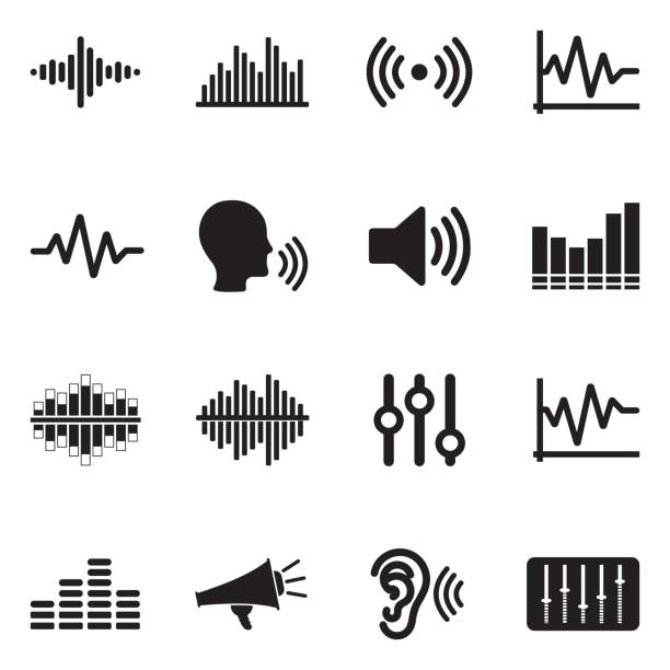 sound and volume icons. black flat design. vector illustration. - hałas stock illustrations