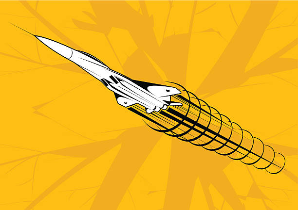 Sound barrier broked A very fast jet plane flying fast to broke sound barrier. See also: supersonic airplane stock illustrations