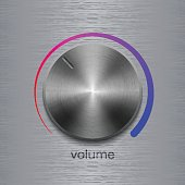 Sound control button with dark metal steel texture and color scale on metal texture