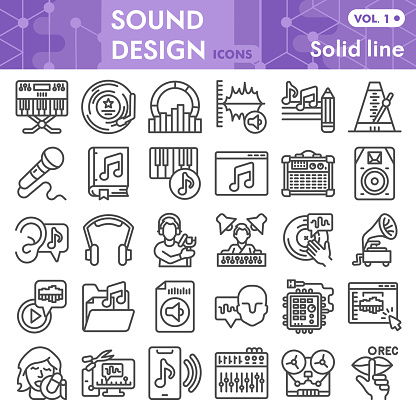 Sound design line icon set, music symbols collection or sketches. Media linear style signs for web and app. Vector graphics isolated on white background.