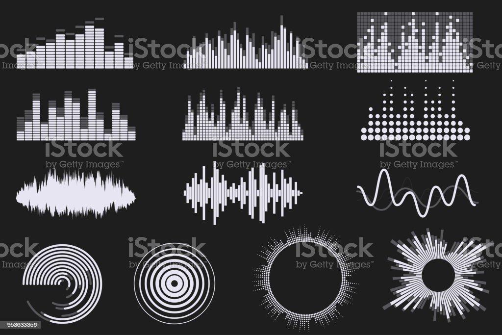 デジタル音のイコライザーを設定します。デジタル オーディオのイコライザー技術。サウンド ウェーブの音楽のアイコン。古典的な創造的なラウンド形状。黒の背景上に分離。あなたのデザインの要素です。ベクター eps 10。 - DJのロイヤリティフリーベクトルアート