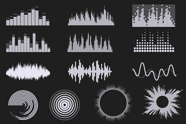 sound digital equalizer set. audio digital equalizer technology. music soundwave icons. classic, round and creative shapes. isolated on black background. element for your design. vector eps 10. - hałas stock illustrations