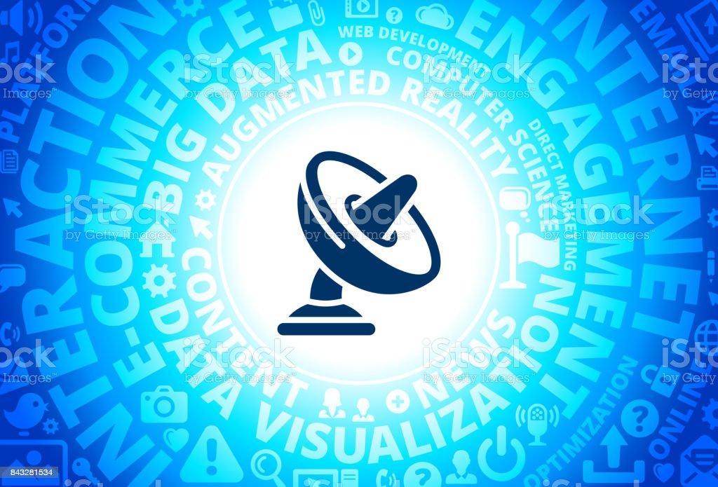 Sound Dish Icon on Internet Modern Technology Words Background vector art illustration
