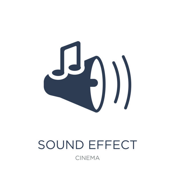 sound effect icon. trendy flat vector sound effect icon on white background from cinema collection - sound effects stock illustrations, clip art, cartoons, & icons
