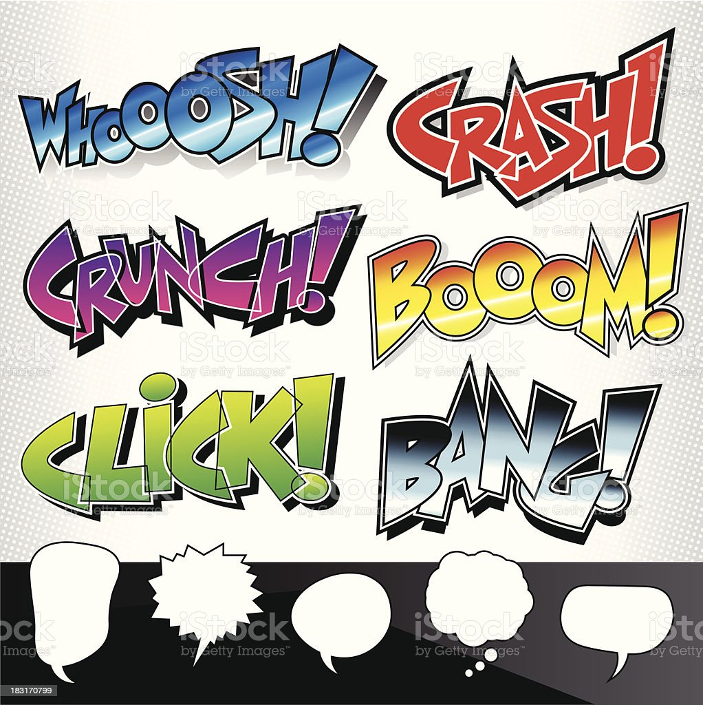 Sound Effects: Comic Book / Graffiti Style with Speech Bubbles vector art illustration