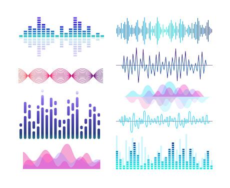 Sound effects vector color illustrations set